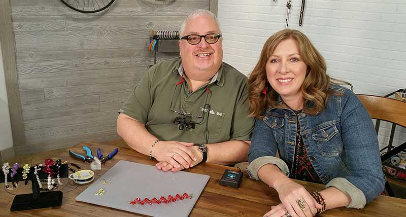 Wyatt White on set of Beads, Baubles & Jewels with host, Katie Hacker