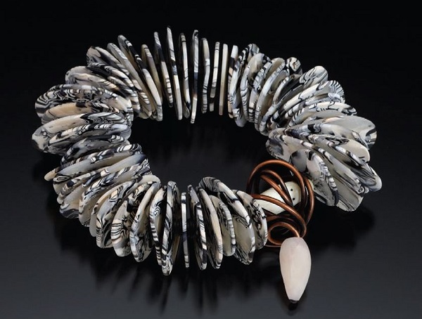 polymer clay and wire bracelet