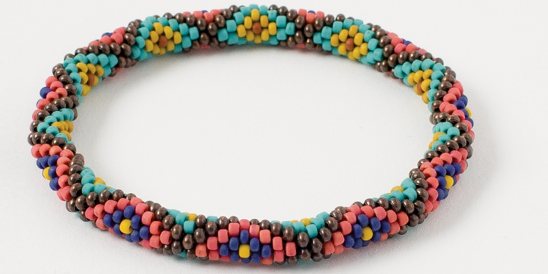 Bead Weaving a Southwest-Inspired Piece of Jewelry. Katie Wall's bead crocheted Diamondback Bangle