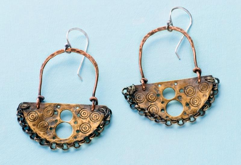 stamped metal jewelry: Warrior Princess Earrings by Joanne Ortiz