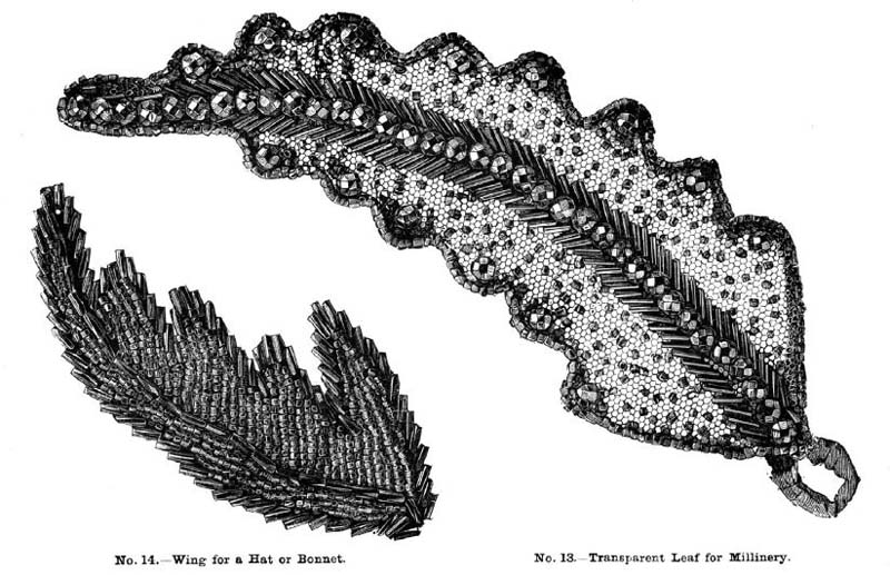 clothing with beadwork: No. 14 Wing for a Hat Bonnet and No. 13 Transparent Leaf for Millinery from Weldon's Practical Bead-Work, First Series.