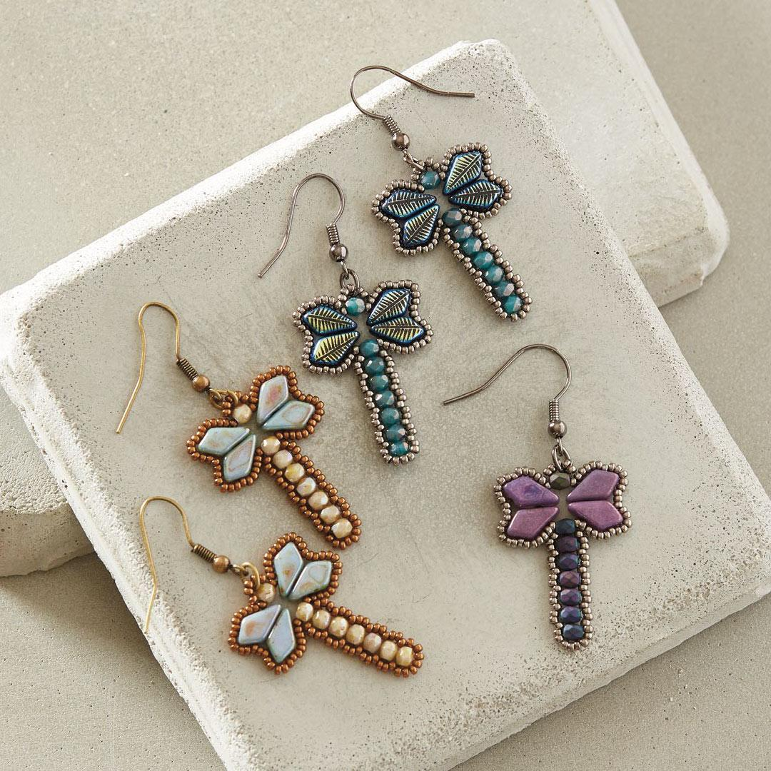Kim West's Dancing Dragonfly Earrings, Featured in the 10 Quick & Easy Bead Weaving Patterns eBook