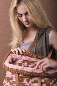 Inside Winter Rose Crochet Tote