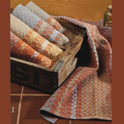 The Winter Warmth Towel kit, featuring 4-shaft Ms and Os towels by Kathleen Farling.