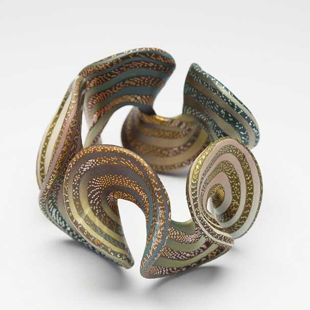 Woodland Ruffle Cuff, 2008 Polymer and acrylic paint 3 x 4 x 4 1/8 inches Racine Art Museum, Gift of Elise Winters and Sherwood Rudin Photo credit: Penina Meisels
