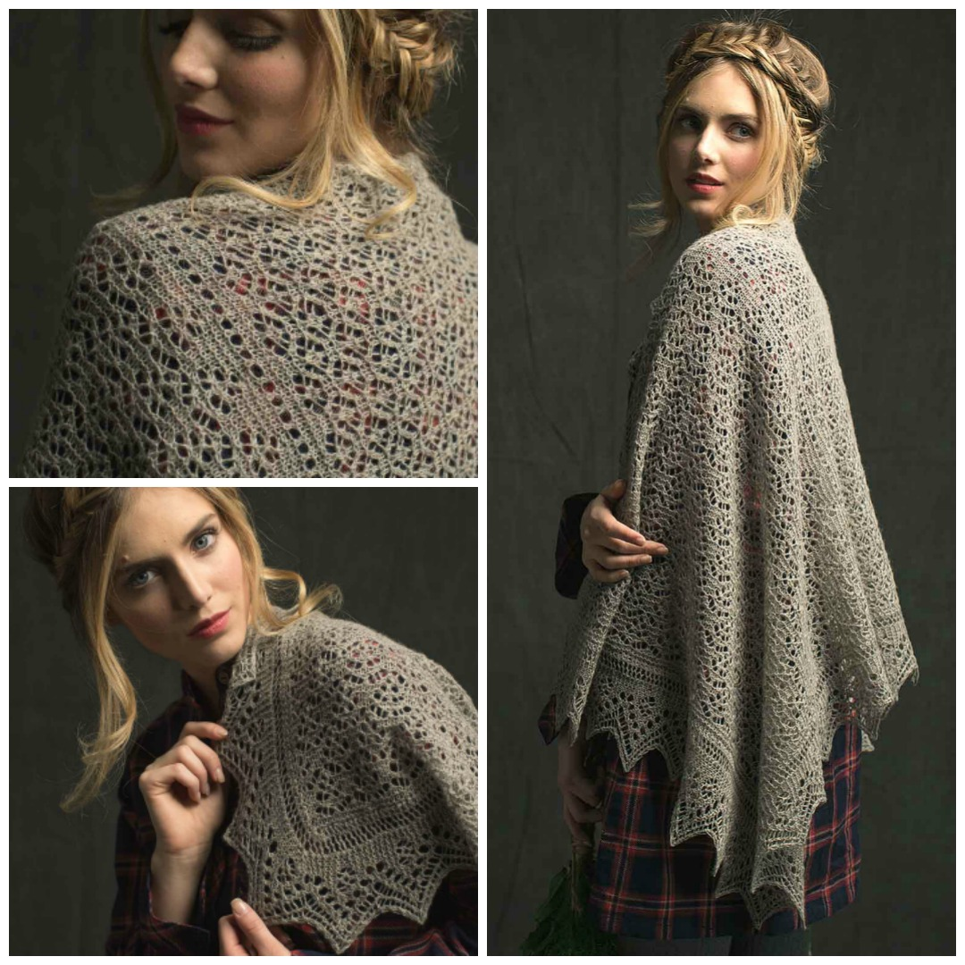 The Woodland Lace Stole is a classic Shetland lace stole with traditional construction starting from a provisional cast-on and finishing with a knitted-on edging.