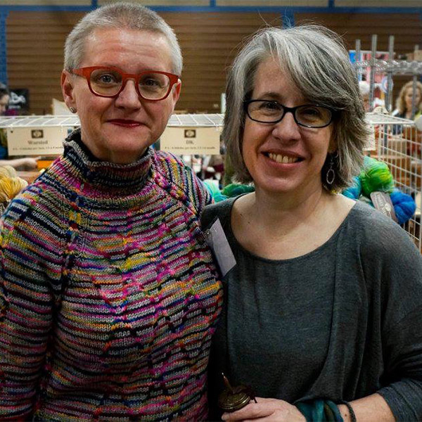 Two shoppers at the Yarnover 2016 marketplace. Photo by Kate Westlund.