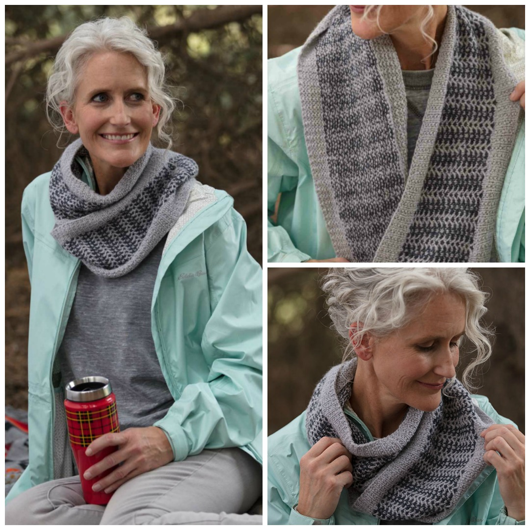 The Yell Island Cowl is a long cowl with slipped-stitch colorwork in varying shades of grey for a simple, textural effect.