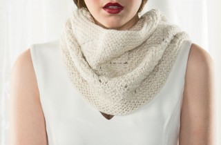 The Amplified Cowl from Interweave is a quick and easy lace knitting project that creates a beautiful knitted cowl.