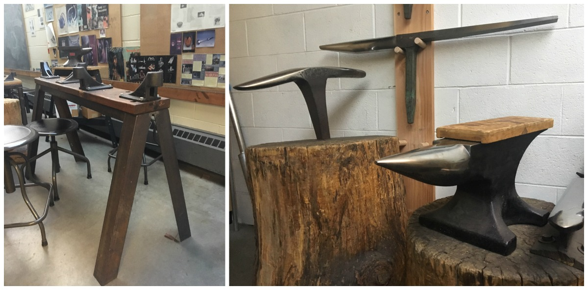Anvils, stakes, and vices provide a variety of forging tools in this room of CSU's jewelry studio.