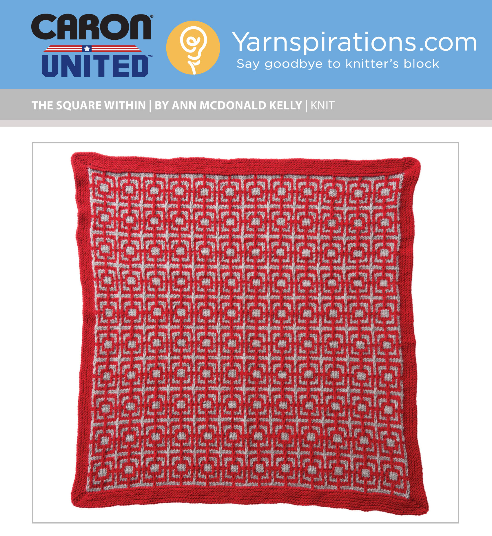The Square Within Knit Afghan Block for Caron United World\'s Biggest ...