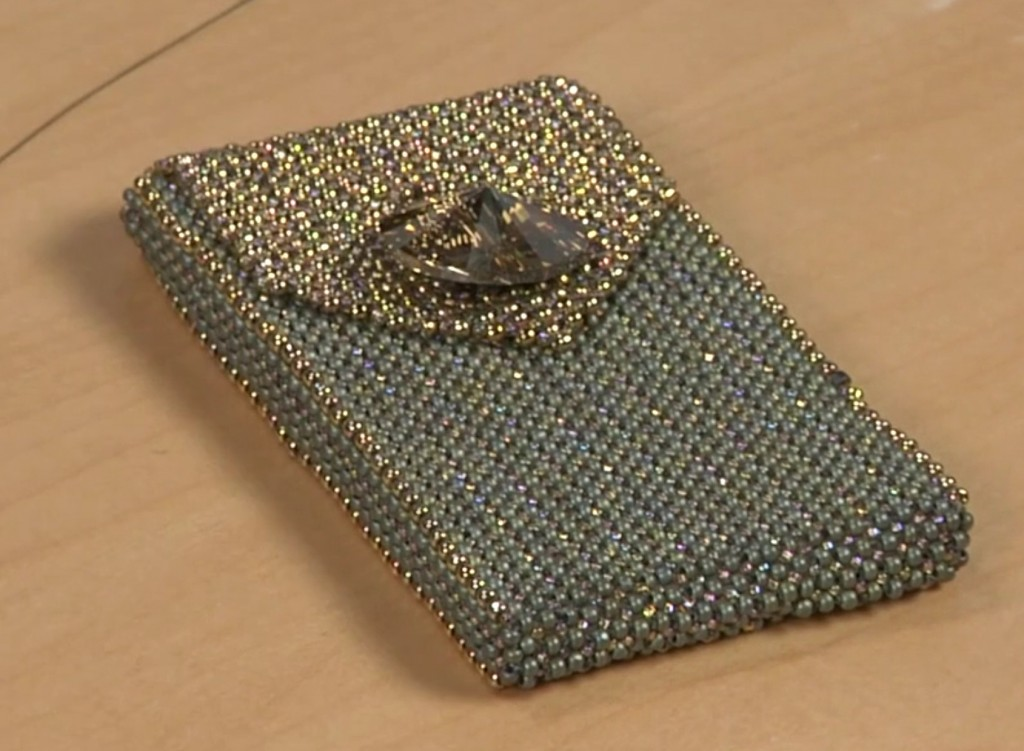 Marcia DeCoster, business card case. Right Angle Weave, increase and decrease.