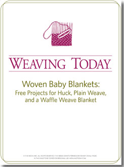 Learn how to weave baby blankets in this free ebook that contains 4 free woven baby blankets.