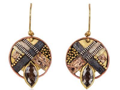 Mokumé gané earrings by Linda Bahr, photo courtesy Lynda Bahr