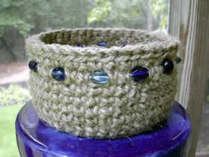 blue beaded basket