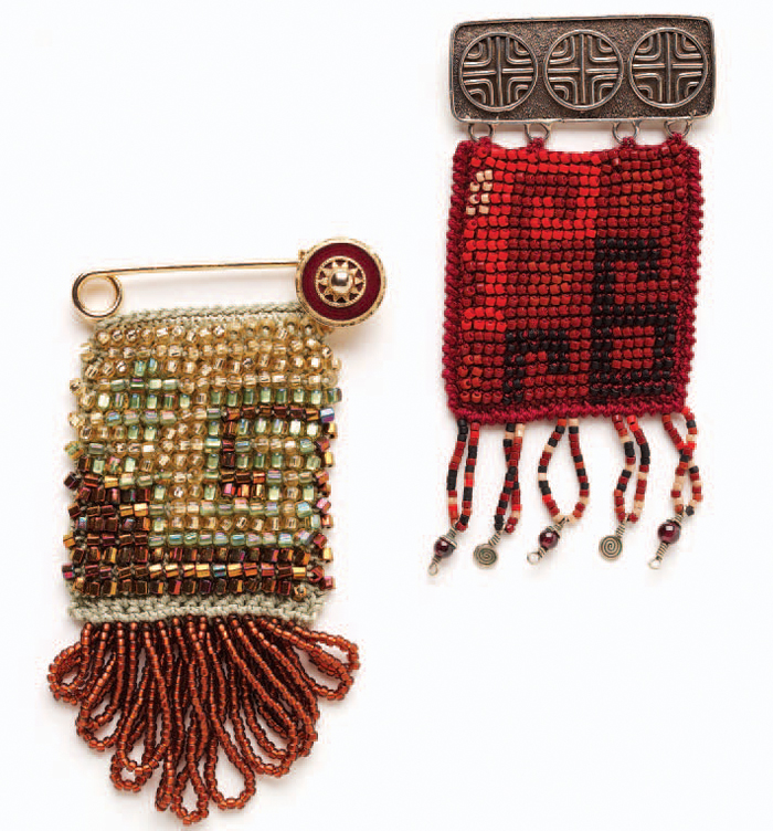 Learn how to bead crochet jewelry in this free eBook, such as these motif pins.