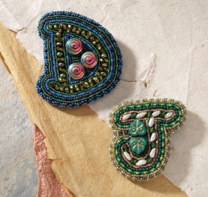 Bead embroidery with alphabet letters.