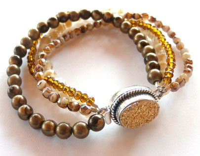 Vintage and modern beads combined for a classy bracelet with a sparkling druzy clasp from A Grain of Sand
