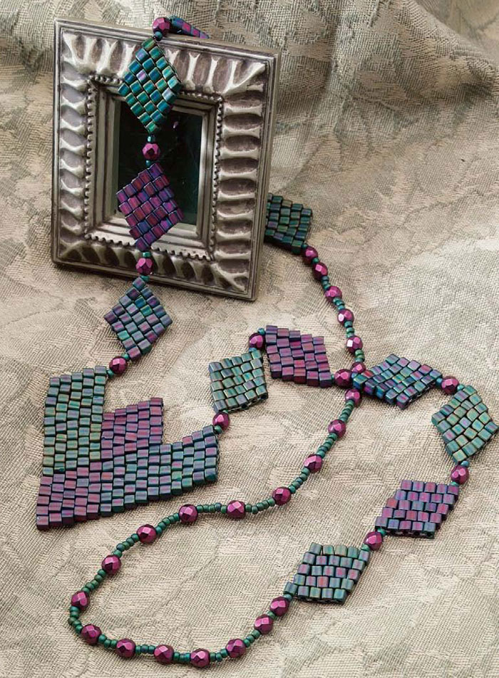 Make a brick stitch necklace using bead weaving techniques in this free guide.