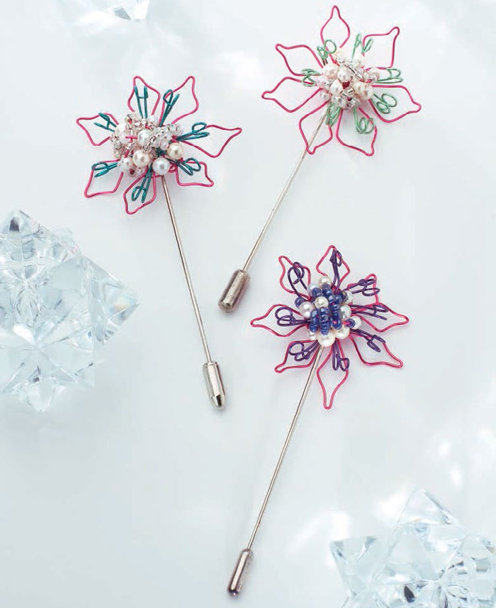 Learn how to make beaded pins with flowers in our FREE eBook on spring jewelry designs and projects.