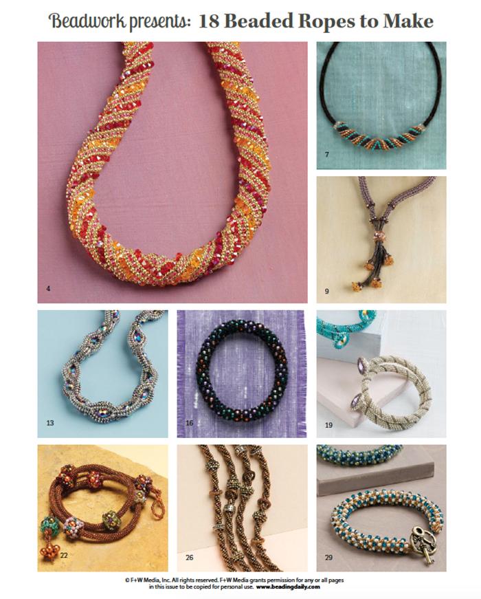 Beaded Ropes, twisted tubular herringbone, tubular peyote, Russian Spiral