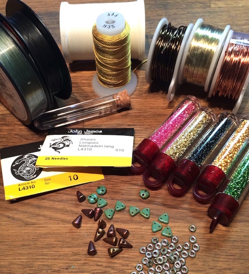 thread, needles, wire and a few beads from my bead board and work bench today
