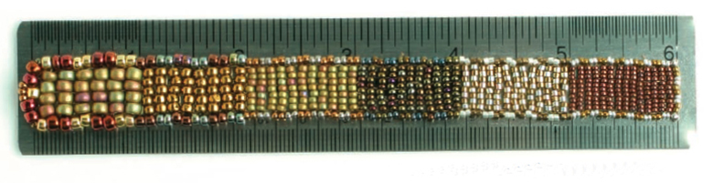 seed bead sizes by the inch