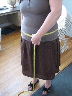 Learn how to measure buddha belly for knitting patterns.