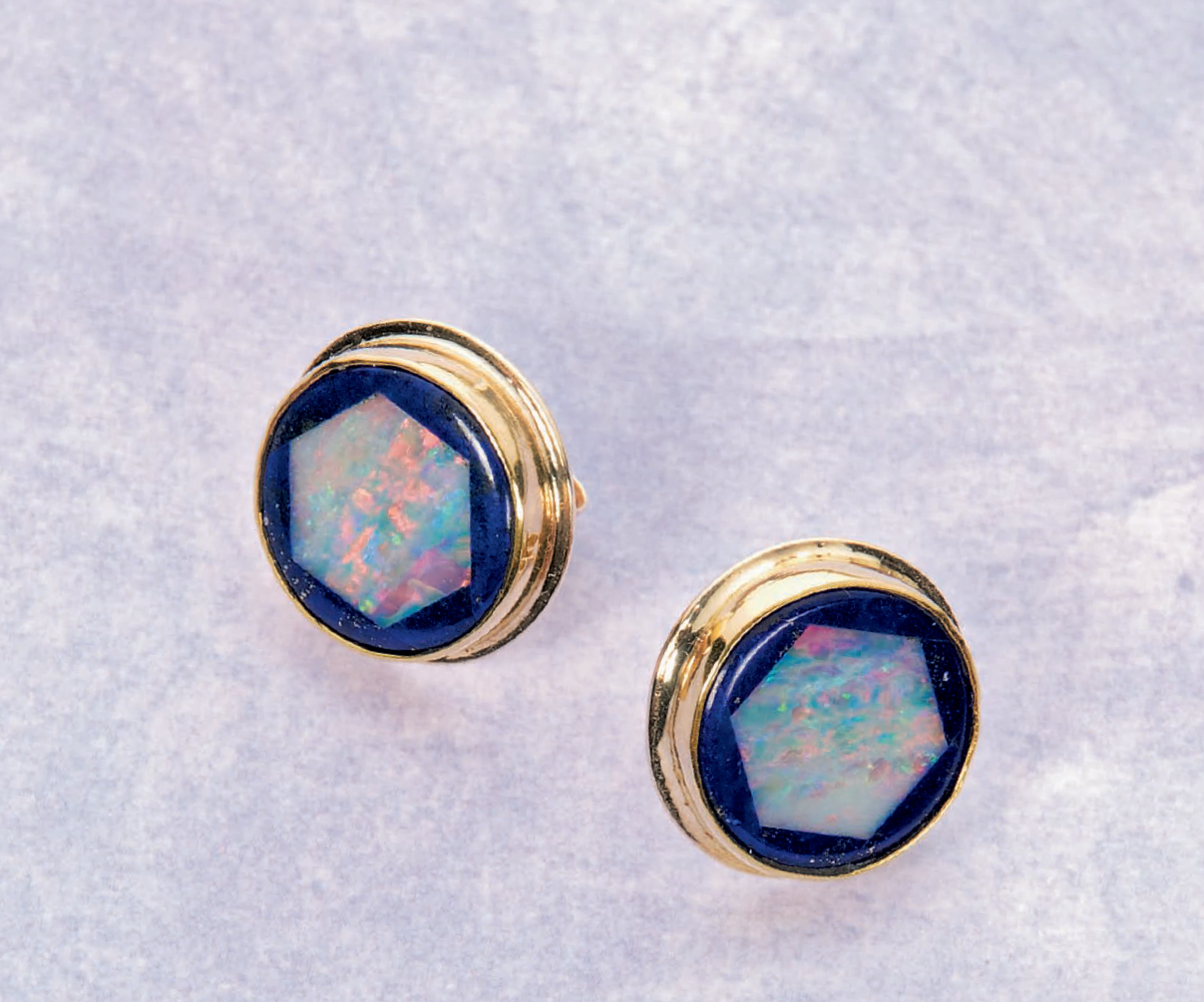 After every soldering operation, Tom and Kay Benham pickled the metal in these gold and opal earrings, which appear in Everyone's Guide to How to Solder Jewelry; photo: Jim Lawson