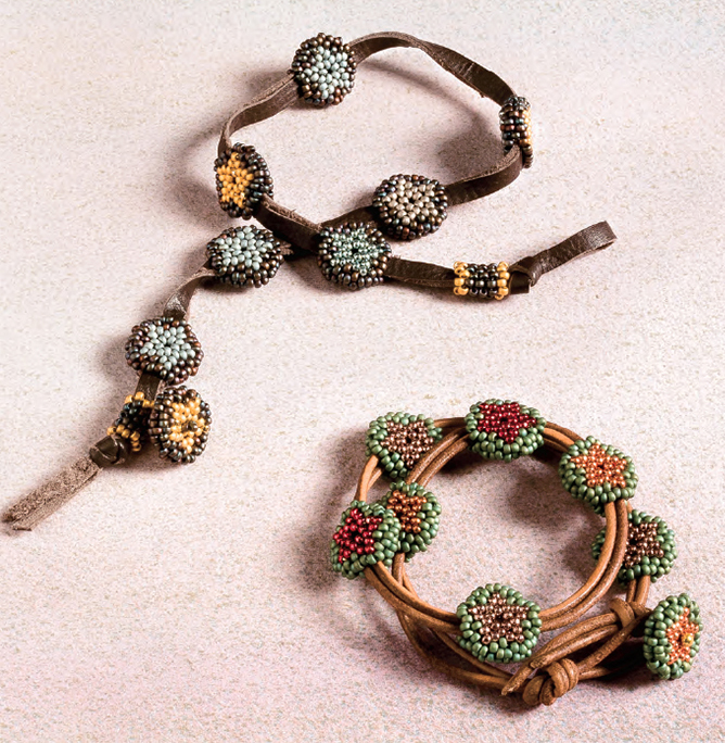 Big Sky Bracelets by Melinda Barta. Clever leahter designs made using  knots and bead weaving techniques.