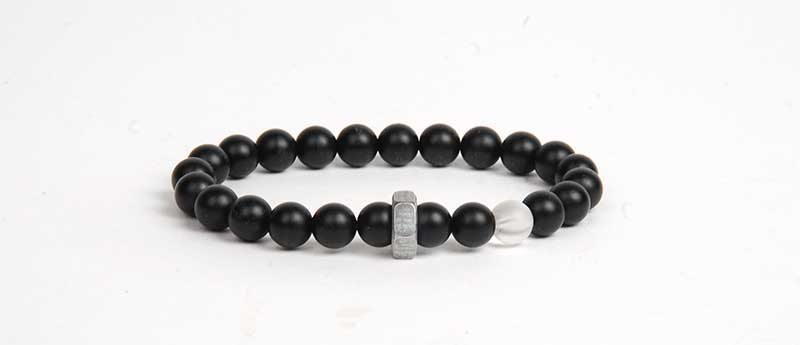 Jewelry For Men: Quick & Easy Bracelet Design You Can Make and Gift - onyx and hex nut stretchy bracelet