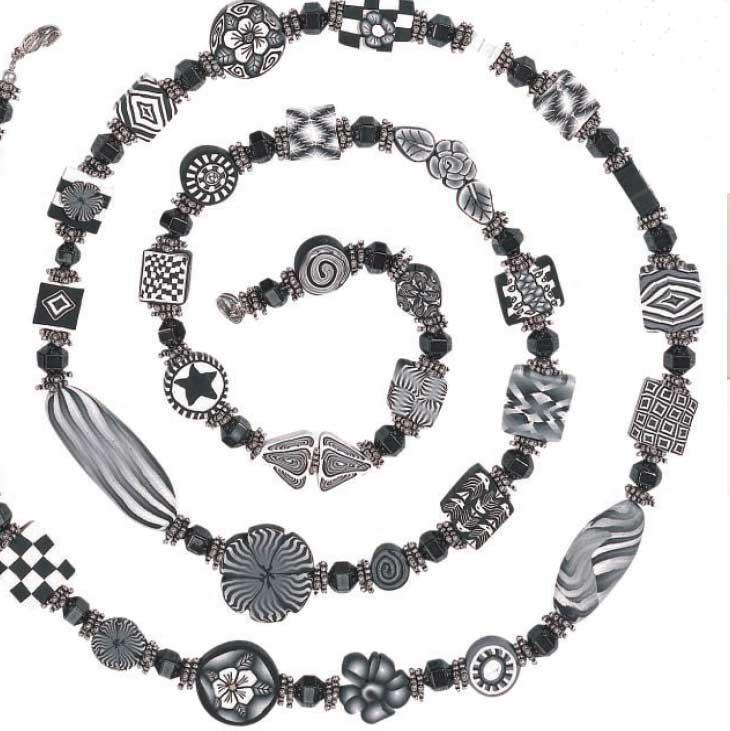 Classic Black and White by Kathy Weaver polymer clay jewelry