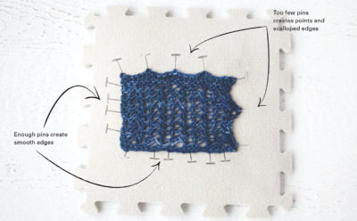 Example of preparing knitted fabric for blocking use blocking mats and blocking pins!