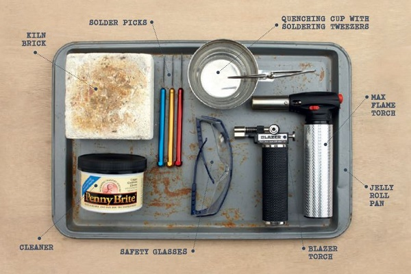 micro-torch soldering essentials: cleaner, kiln brick, solder picks, quench cup and tweezers, micro-torch, safety glasses