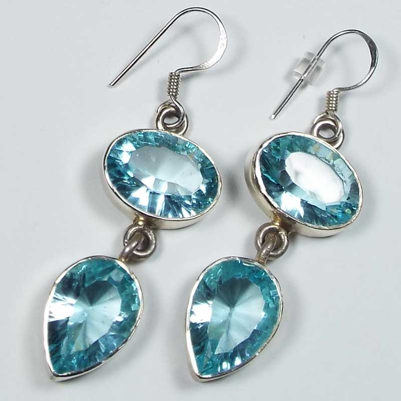 Blue topaz and sterling silver earrings. Blue topaz is one of the most popular jewelry stones on the market today. Photo by John S. White.