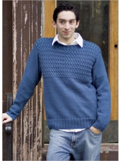 Every man needs a basic blue sweater, but that sweater doesn't have to be boring. In this example, Norah Gaughan brings together the classic elements popular among men - set-in sleeves, crewneck shaping, and double-ribbed edges - and she adds visual interest with a heavily textured, braided-cable yoke.