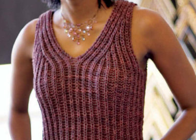 Learn how to knit this brioche stitch knitted top in our free guide.