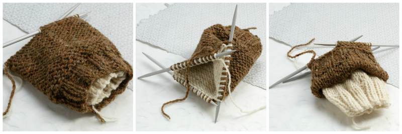 A sample of knitting two socks at once by Jacqueline Fee showing a brown outer sock and a white inner sock for contrast.