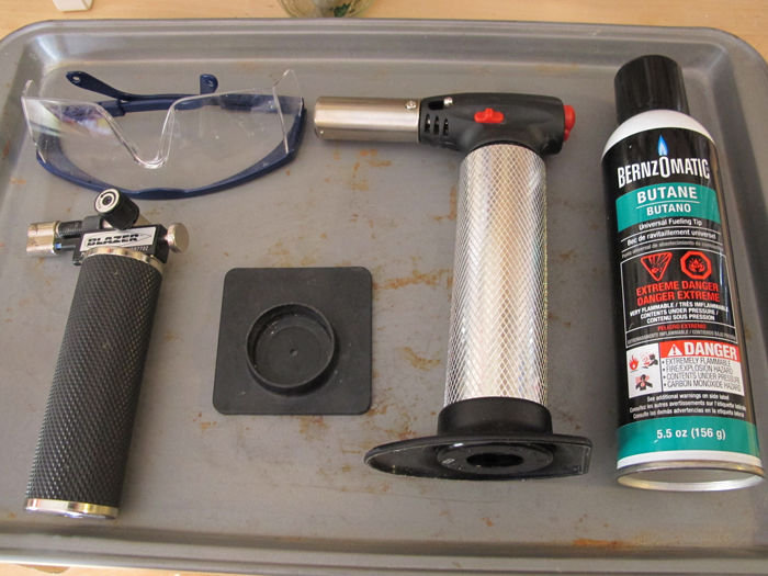 butane micro torch soldering setup