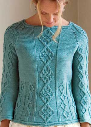 The Cable-Down Raglan—a beautirul example of cable knitting