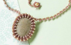 Learn how to make an easy cabochon bezel using the peyote stitch with freshwater pearls and seed beads in this FREE project on making cabochon settings in jewelry making.