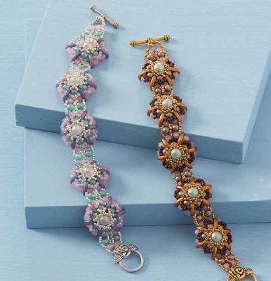 Camellia Bracelet kit, beadweaving, bracelet making, beadweaving pattern, beadwork, crescent beads, two-hole shaped beads