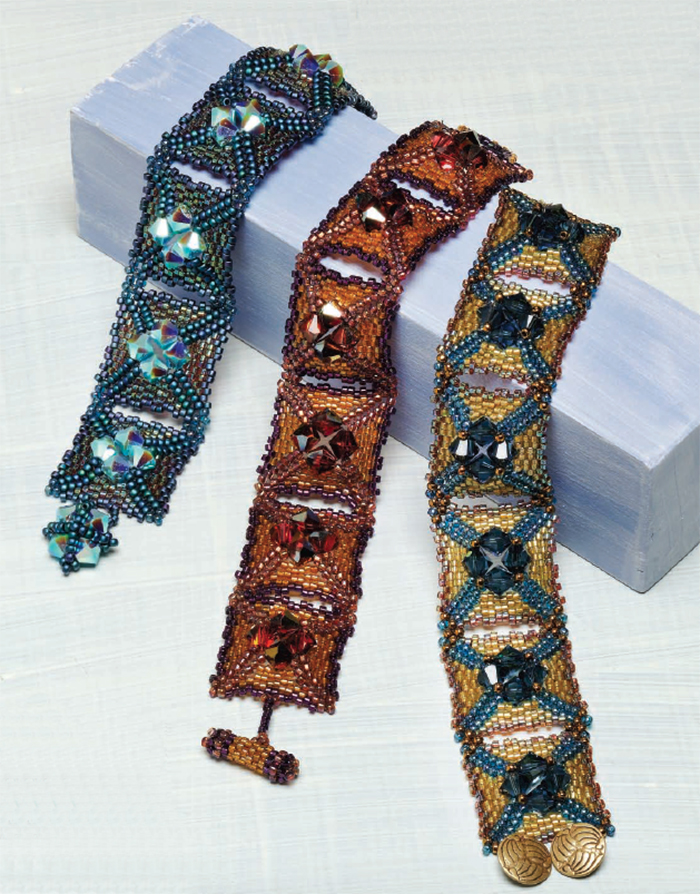 Bead weaving patterns for back to school, Camelot Cross Bracelet by Carole Ohl