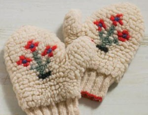 The vintage carriage mittens Donna Druchunas purchased on eBay. Photograph by Joe Cocoa.