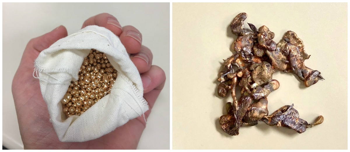 Left: To my surprise, a pound of bronze casting grain easily fits in my hand. Right: Hollie's water casting produced this intricate shape resembling a tree.