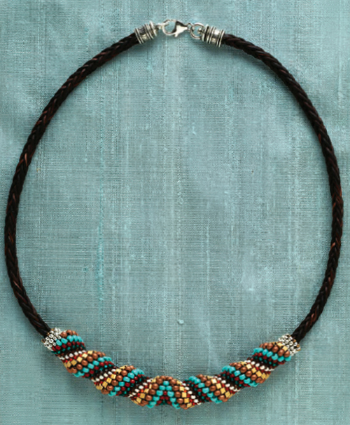 Cellini Slide Necklace by Cindy Kinerson. Shaped beads, Favorite Bead Stitches Beadwork issue