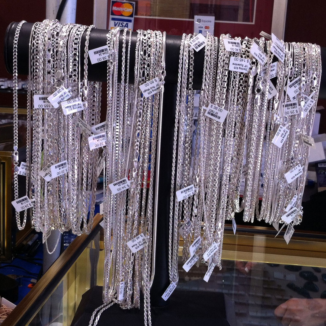 You can find silver chain necklaces at Tucson, as well as chain by the foot. Necklaces: D&M Rock Shop; photo: M. White