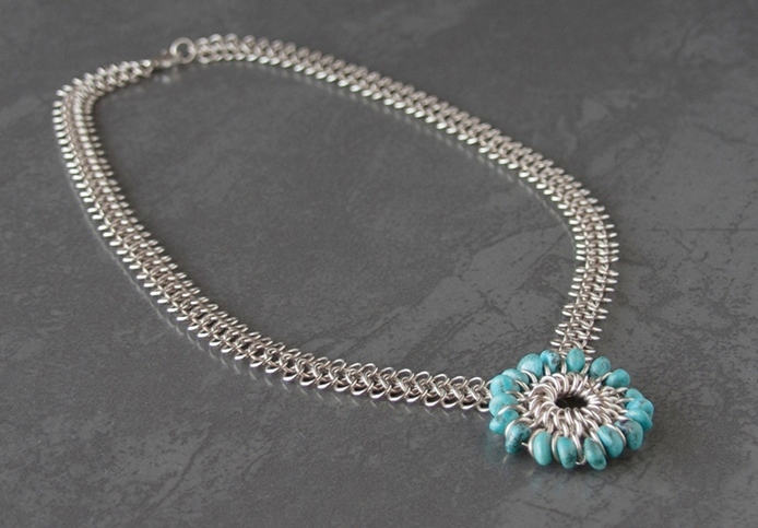 Sterling silver turquoise mandala pendant; photo: Kylie Jones