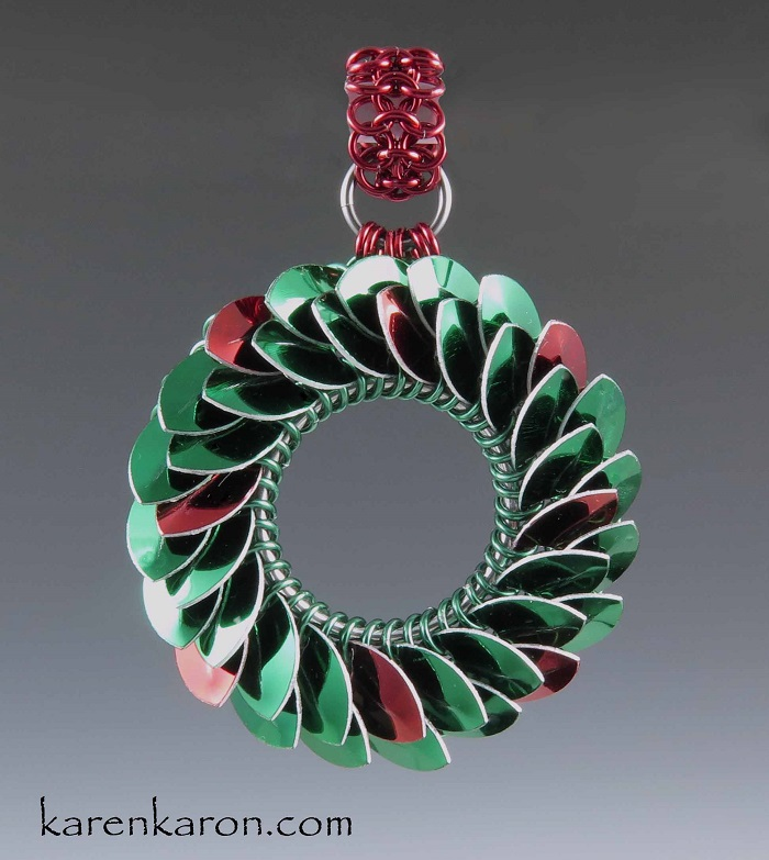 scale maille chain maille wreath ornament by Karen Karon