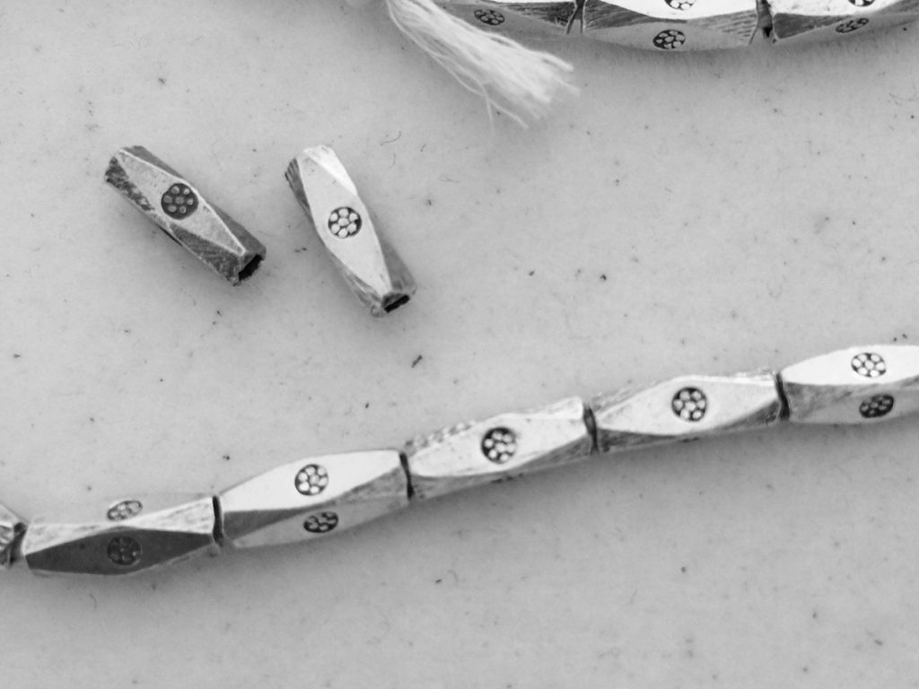 Hill Tribes silver beads with chakra flower symbol